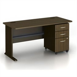 BBF Series A 60 Desk with 3-Drawer Filing Cabinet in Sienna Walnut