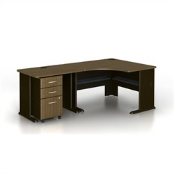 Bush BBF Series A 3-Piece Corner Computer Desk in Sienna Walnut