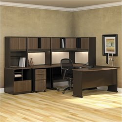 Bush BBF Series A 8-Piece U-Shaped Computer Desk in Sienna Walnut