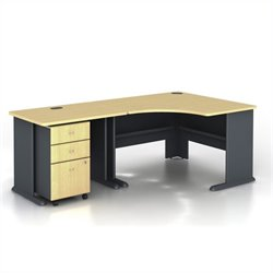 BBF Series A 3-Piece Corner Computer Desk in Beech