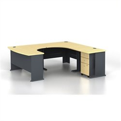BBF Series A 4-Piece U-Shape Right-Hand Computer Desk in Beech