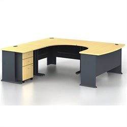 BBF Series A 4-Piece U-Shape Left-Hand Computer Desk in Beech