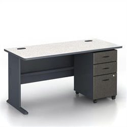 BBF Series A 60 Computer Desk with 3-Drawer File Cabinet in Slate