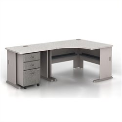 Bush BBF Series A 3-Piece Corner Computer Desk in Pewter