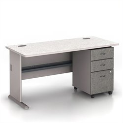 BBF Series A 60 Computer Desk with 3-Drawer File Cabinet in Pewter