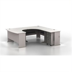 BBF Series A 4-Piece U-Shape Right-Hand Corner Computer Desk in Pewter