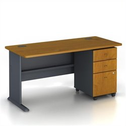 BBF Series A 60 Computer Desk with 3-Drawer File Cabinet in Natural Cherry
