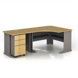 Bush BBF Series A 3-Piece Corner Computer Desk in Light Oak