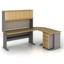 Bush BBF Series A 5-Piece L-Shape Computer Desk in Light Oak