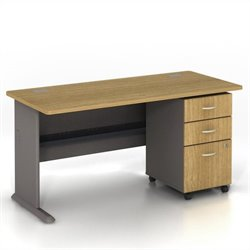 BBF Series A 60 Computer Desk with 3-Drawer File Cabinet in Light Oak