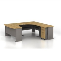 BBF Series A 4-Piece U-Shape Right-Hand Corner Computer Desk in Light Oak