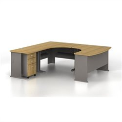BBF Series A 4-Piece U-Shape Left-Hand Corner Computer Desk in Light Oak