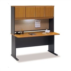 BBF Series A 60 Computer Desk with Hutch in Natural Cherry