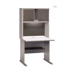 BBF Series A 36 Computer Desk with Hutch in Pewter