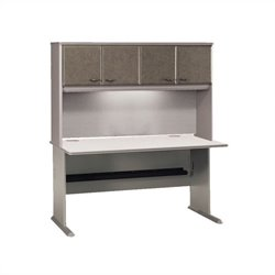 BBF Series A 60 Computer Desk with Hutch in Pewter
