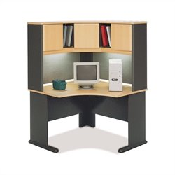 BBF Series A 48 Corner Computer Desk with Hutch in Beech