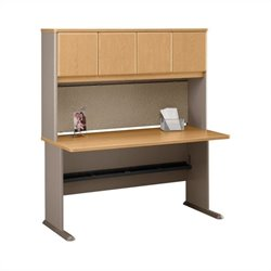 BBF Series A 60 Wood Computer Desk with Hutch in Light Oak