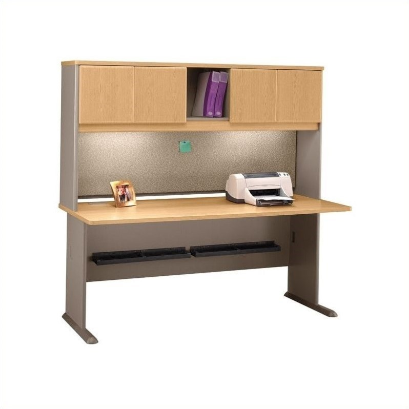 Bush Business Series A 72 Wood Computer Desk with Hutch in Light Oak
