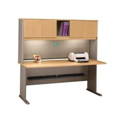 BBF Series A 72 Wood Computer Desk with Hutch in Light Oak