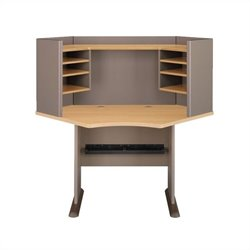 BBF Series A 42 Wood Corner Computer Desk with Hutch in Light Oak