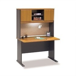 BBF Series A 48 Wood Computer Desk with Hutch in Natural Cherry