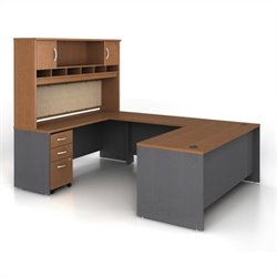 Bush Business Series C 5-Piece U-Shape Computer Desk in Auburn Maple