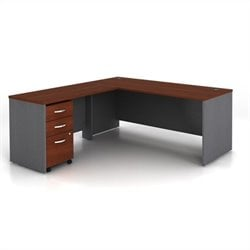 Bush Business Series C 3-Piece L-Shape Computer Desk in Hansen Cherry