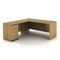Bush BBF Series C 3-Piece L-Shape Computer Desk in Light Oak