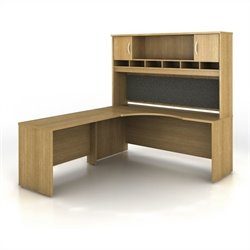 Bush BBF Series C 3-Piece Left-Hand Corner Computer Desk in Light Oak