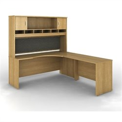 Bush BBF Series C 3-Piece Right-Hand L-Shaped Computer Desk in Light Oak