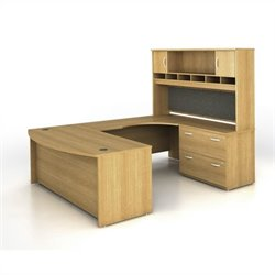 Bush BBF Series C 4-Piece U-Shape Right-Hand Computer Desk in Light Oak