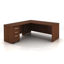 BBF Series C 3-Piece L-Shape Computer Desk in Mahogany