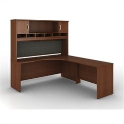 Bush BBF Series C 3-Piece Right-Hand Corner Computer Desk in Mahogany