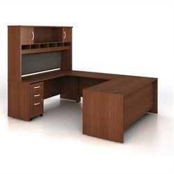 Bush BBF Series C 5-Piece U-Shape Computer Desk in Mahogany