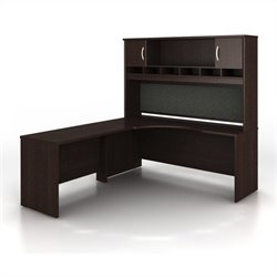 BBF Series C 3-Piece Left-Hand Corner Computer Desk in Mocha Cherry