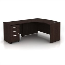 Bush BBF Series C 3-Piece Left-Hand Computer Bow Desk in Mocha Cherry
