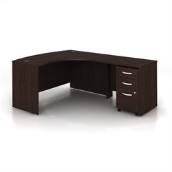BBF Series C 3-Piece Right-Hand Computer Bow Desk in Mocha Cherry