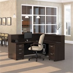 Bush BBF Series C 5-Piece L-Shape Reception Computer Desk in Mocha Cherry