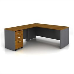 BBF Series C 3-Piece L-Shape Computer Desk in Natural Cherry