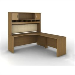 Bush BBF Series C 3-Piece Right-Hand Corner Computer Desk in Warm Oak