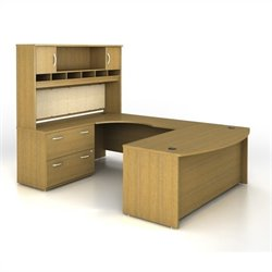 Bush BBF Series C 4-Piece U-Shape Left-Hand Computer Desk in Warm Oak