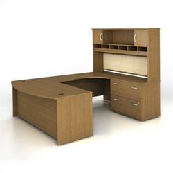 Bush BBF Series C 4-Piece U-Shape Right-Hand Computer Desk in Warm Oak