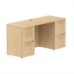 Bush BBF 300 Series 60W x 22D Double Pedestal Desk in Natural Maple