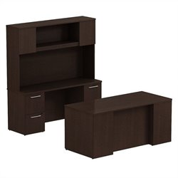Bush BBF 300 Series 66W x 30D Double Pedestal Desk with Credenza and Hutch in Mocha Cherry