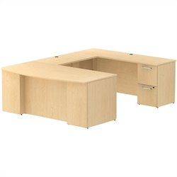 Bush BBF 300 Series 72Wx36D BowFront Desk U-Station with 2Dwr and 3Dwr Peds in Natural Maple