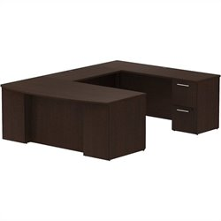 Bush BBF 300 Series 72Wx36D BowFront Desk U-Station with 2Dwr and 3Dwr Peds in Mocha Cherry