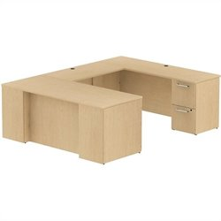 Bush BBF 300 Series 72W x 30D Desk in U-Station with 2Dwr and 3Dwr Peds in Natural Maple