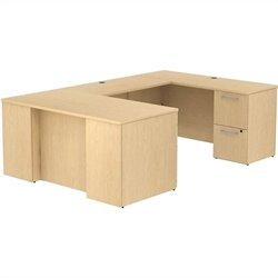 Bush BBF 300 Series 60W x 30D Desk in U-Station with 3Dwr Ped and 2Dwr Ped in Natural Maple