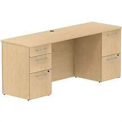 Bush BBF 300 Series 72W x 22D Double Pedestal Desk in Natural Maple
