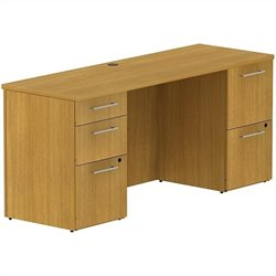 Bush BBF 300 Series 66W x 22D Double Pedestal Desk in Modern Cherry
